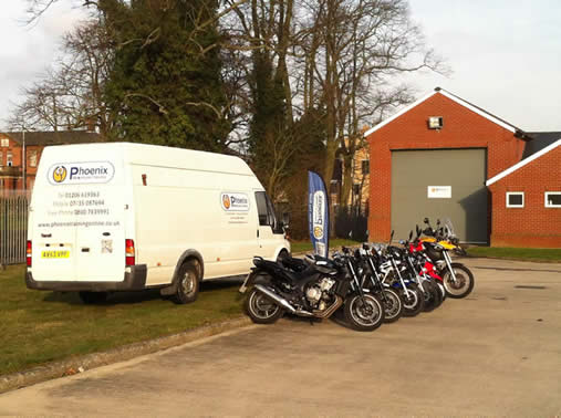Phoenix motorcycle training Colchester training fleet